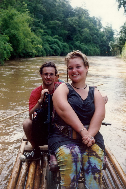 rafting in Thailand with the wheelchair on board
