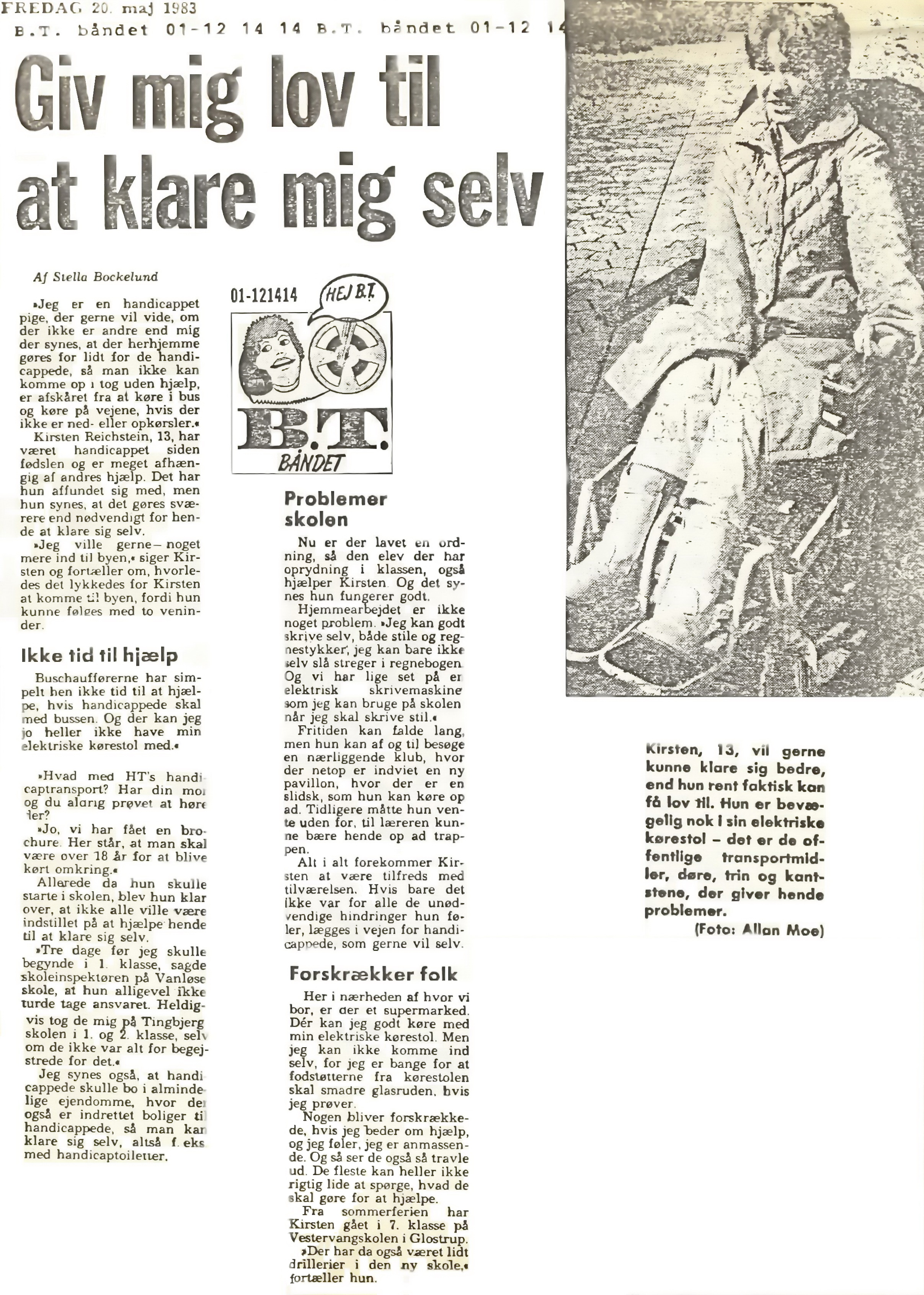 Make wrongs right - Article in BT May 20th. 1983 (only in Danish)