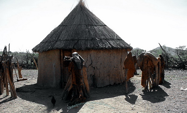The Himba people in wonderful Namibia - Traditional hut. Namibia