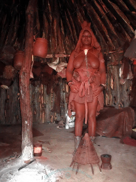 The Himba people in wonderful Namibia - Inside a hut. Namibia