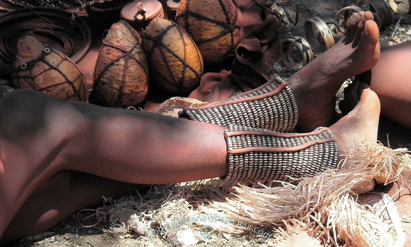 The Himba people in wonderful Namibia - Beaded anklets to protect their legs from venomous animal bites
