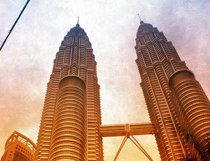 Petronas Towers in Kuala Lumpur Malaysia. Visited by Globetrotter in a Wheelchair
