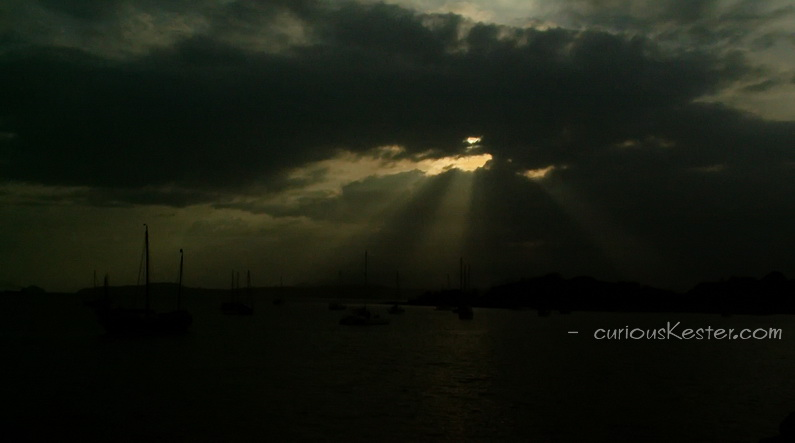 Amazing solar eclipse in Panama. Panama City - during solar eclipse