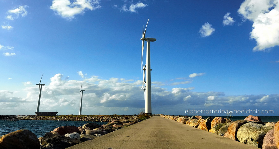 Wind turbines at Bønnerup Strand - Danish summer