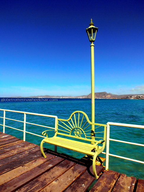 bench and lamppost at the jetty in La Paz bay in Mexico © curiousKester.com | Kirsten K. Kester