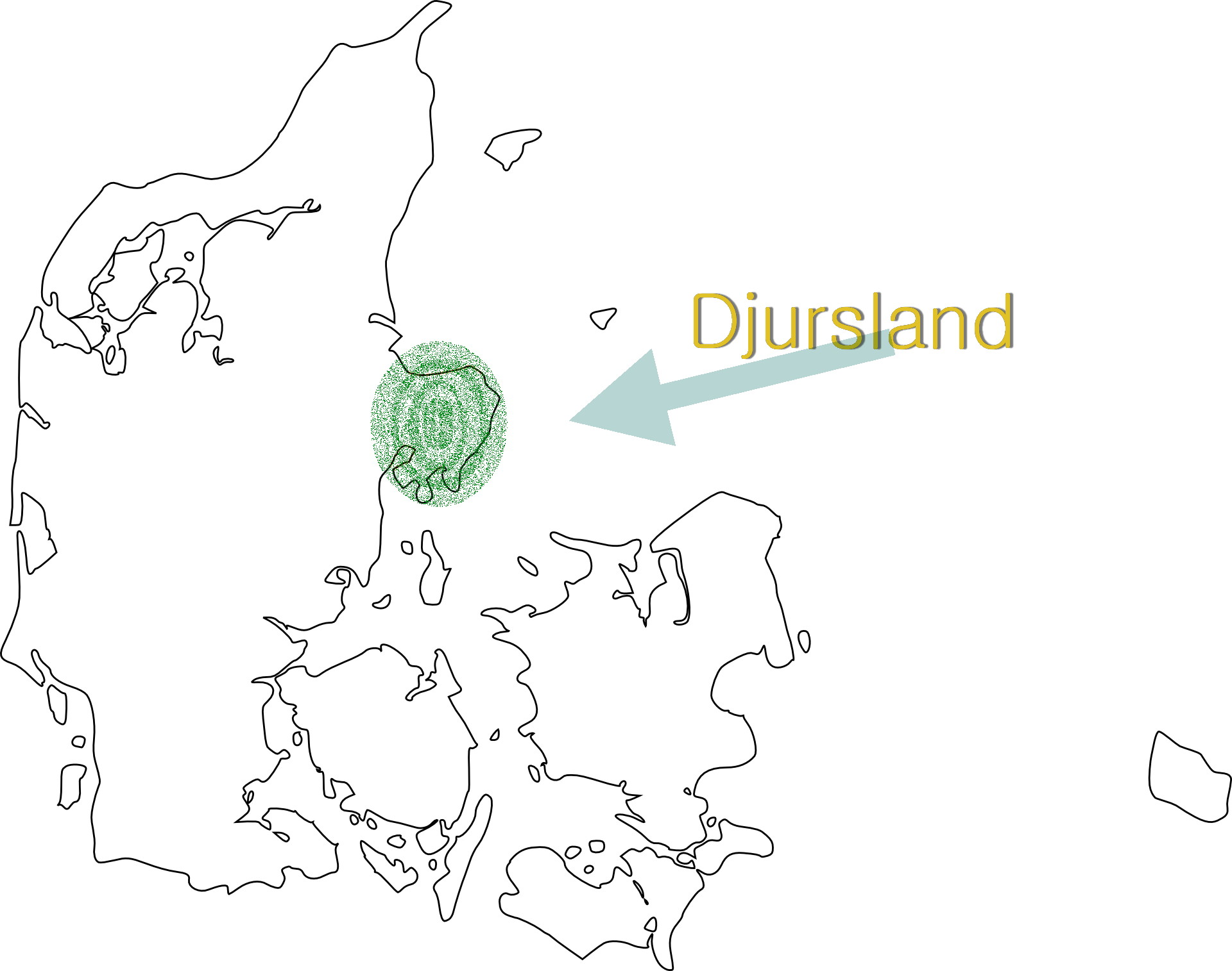 map of Denmark - Djursland highlighted