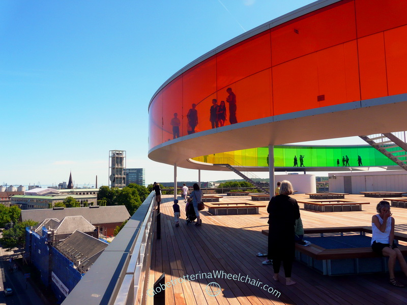 Art at Aros in Aarhus, Denmark with Olafur Eliasson 's Rainbow at the top